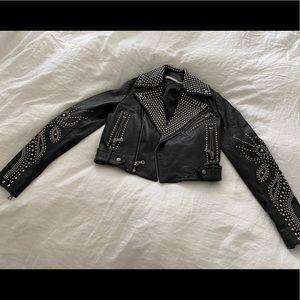Alice and Olivia studded leather jacket.
